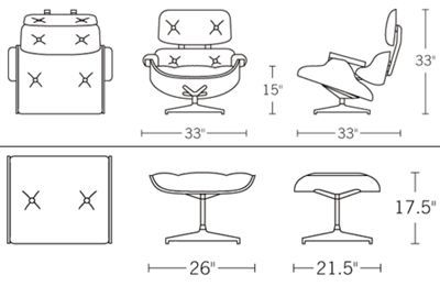 Eames lounge chair dwg block desk chair plan dimensions for Chaise longue dwg