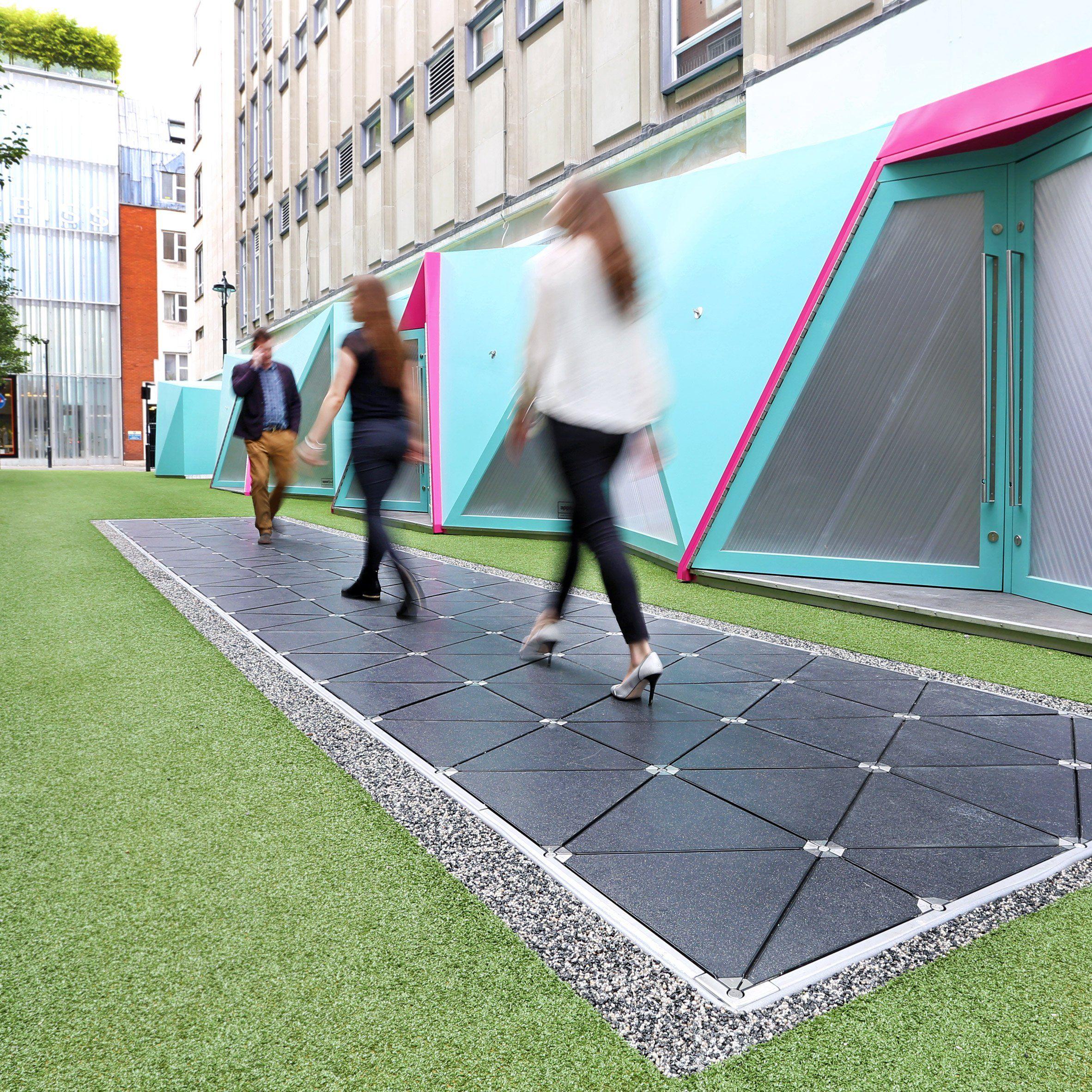 Floor Tiles By Pavegen Harvesting And Storing Kinetic Energy To Turn On Public Lighting Design Dezeen Green Design