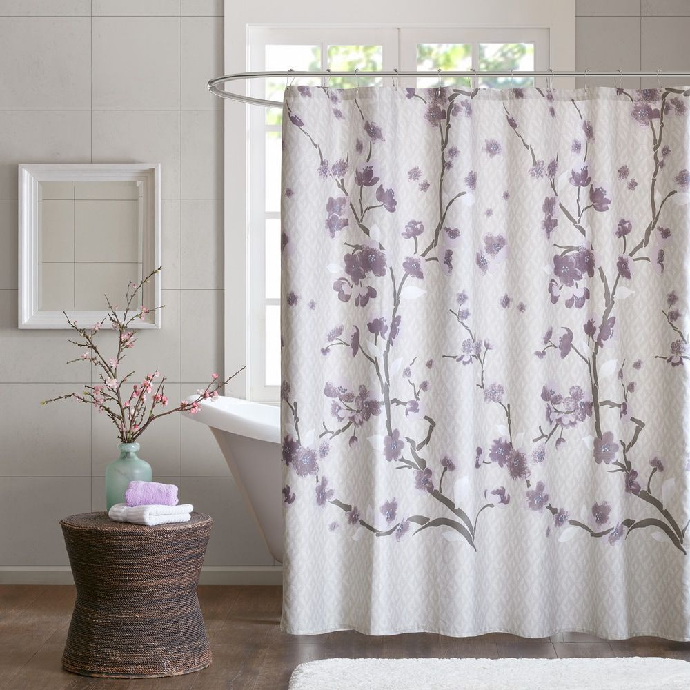 The Gray Barn Mission Creek Cotton Printed Purple Shower Curtain Free Shipping Today O With Images Purple Shower Curtain Elegant Shower Curtains Fabric Shower Curtains