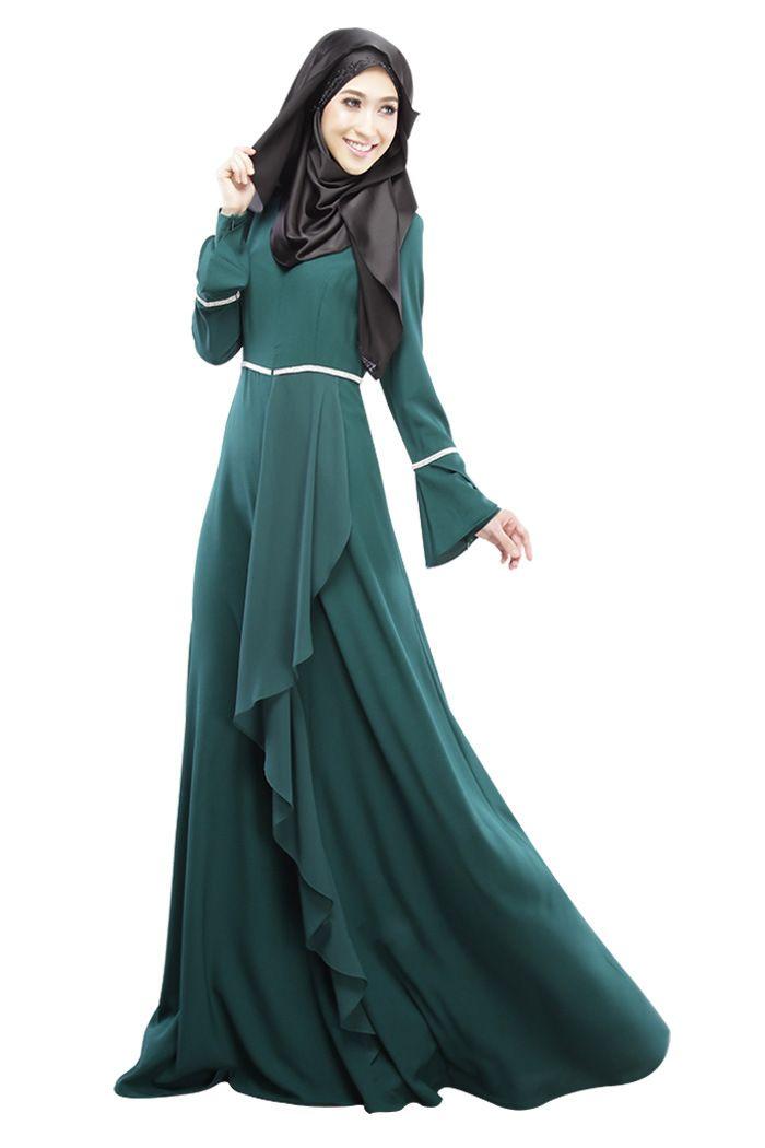 2016 Design Muslim Womens Kaftan Abaya Islamic Dress O-Neck Long Sleeve  Empire Waist Chiffon Floor Length Womens Hijab Clothing  3d7885b6b61b