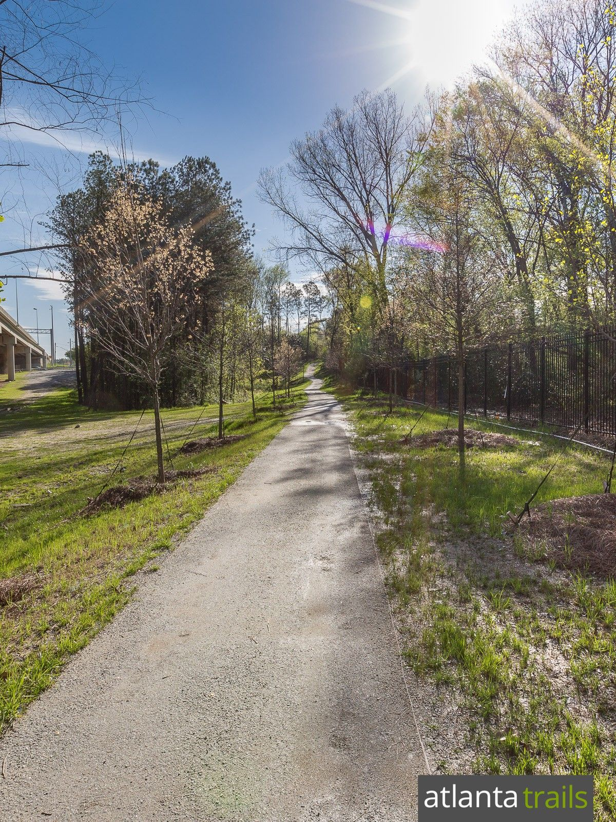 The Cheshire Farm Trail runs beside Peachtree Creek from Lindbergh Drive to Cheshire Bridge Road in Atlanta