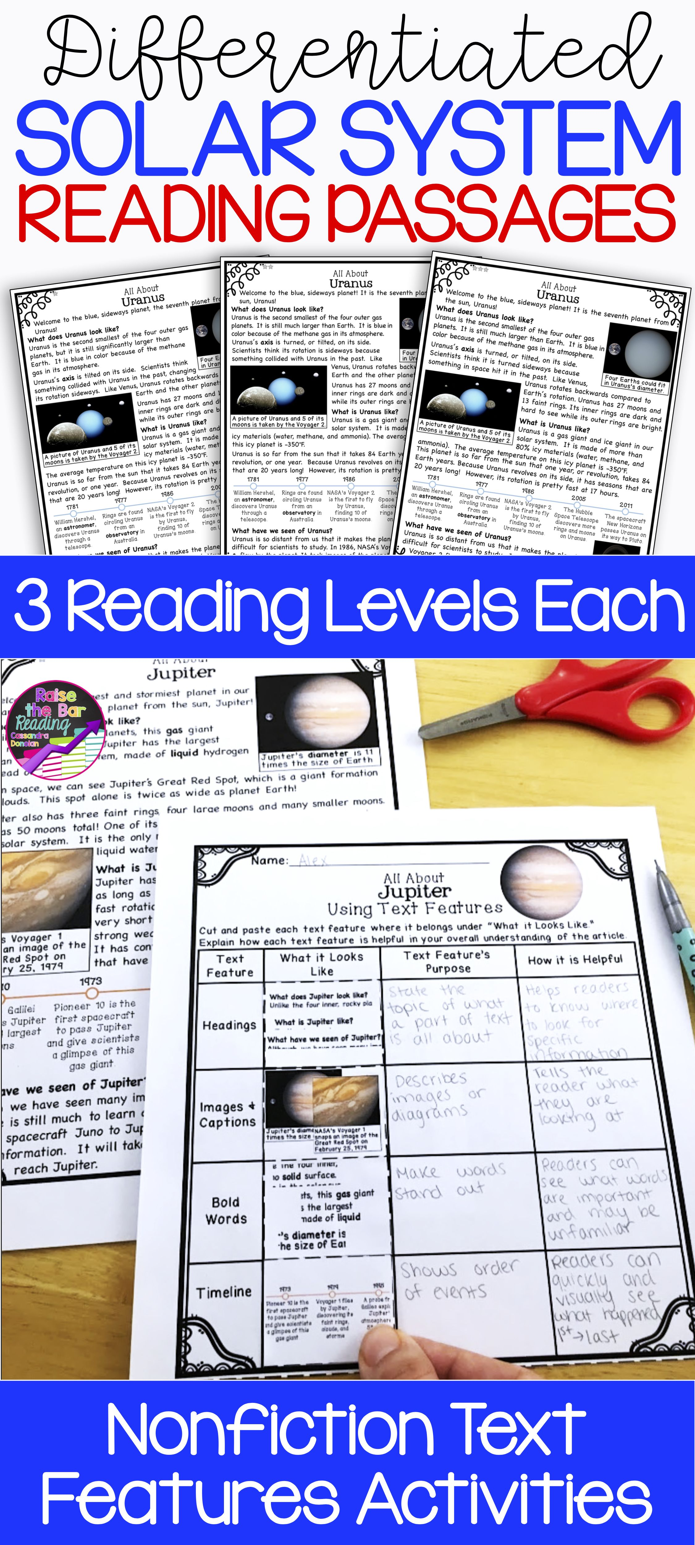 Differentiated Solar System Reading Passages Amp Solar