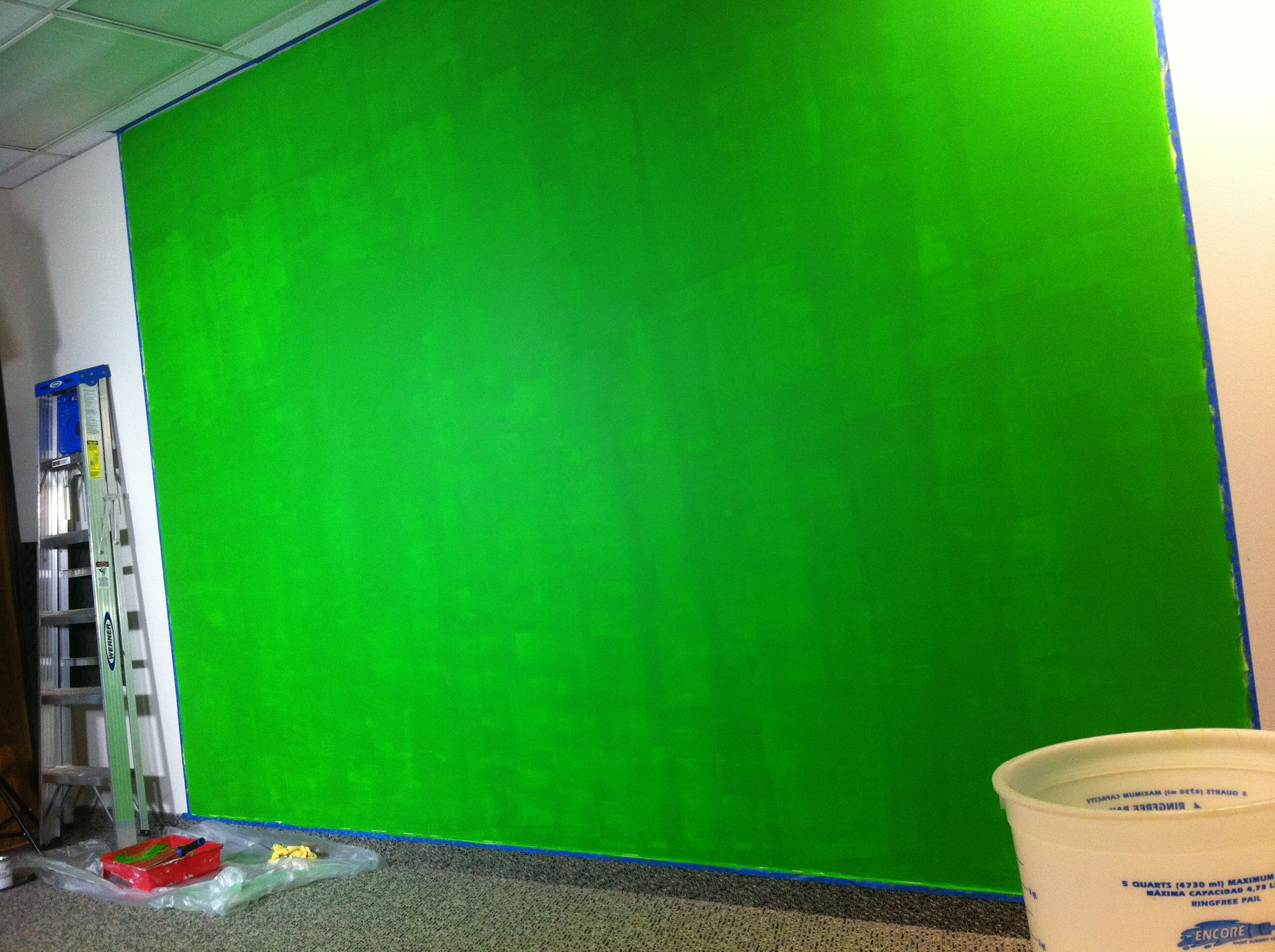 neon green paint walls chroma key green screen wall