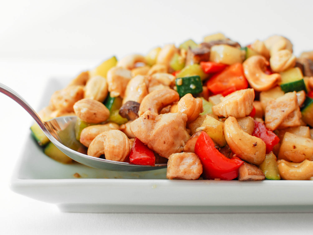 Cashew Chicken Ding With Jicama, Celery, and Red Bell Pepper #bellpepperrecipes