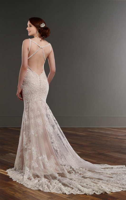 819 Beaded Lace Sheath Wedding Dress By Martina Liana