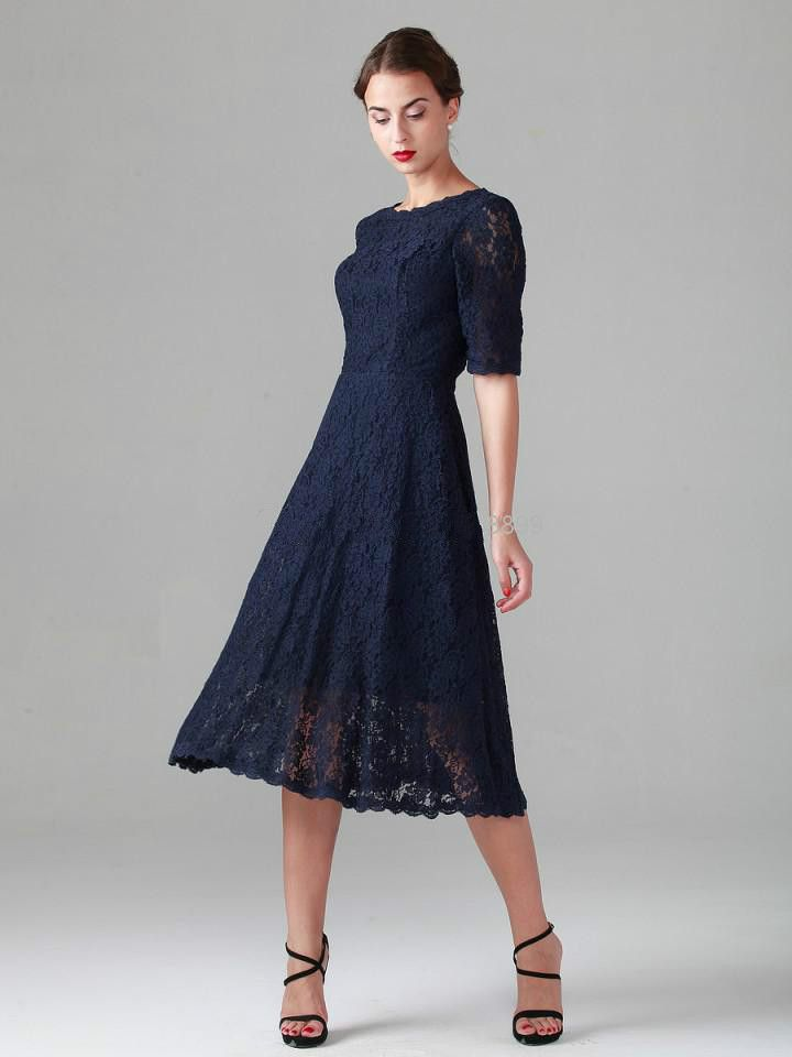 Dam3425 lace tea length navy blue mother of the bride for Navy evening dresses for weddings
