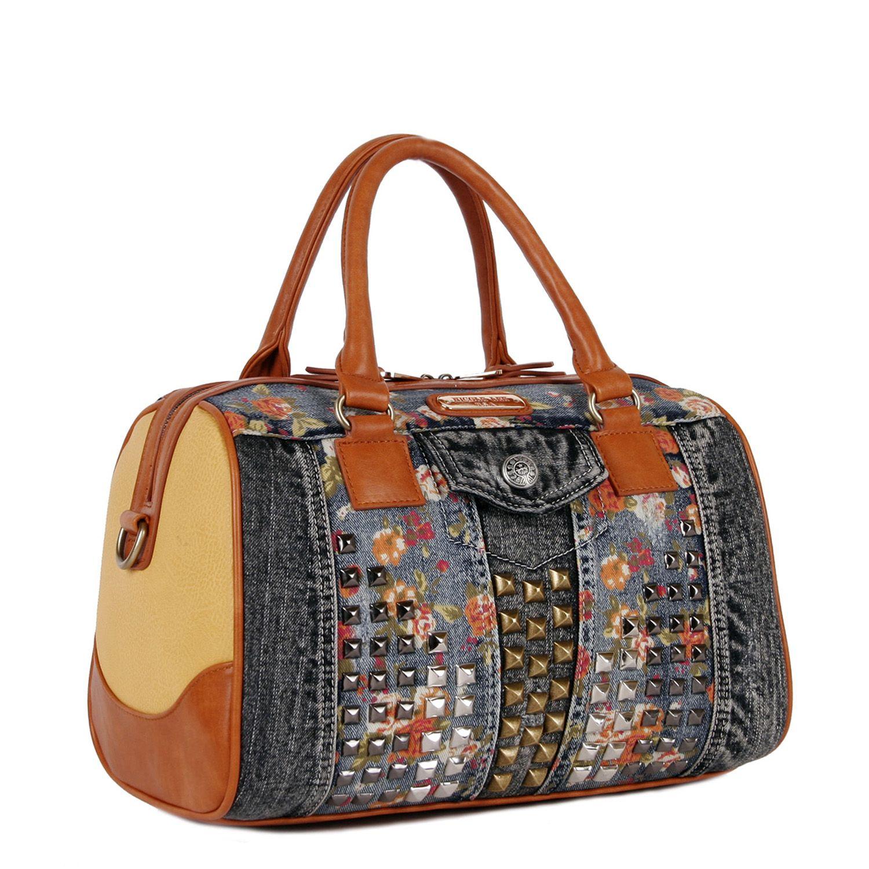 1010c42d1 RIKKY FLORAL STUDDED DENIM BOSTON BAG by Nicole Lee #nicolelee  #nicolelee2014 #handbags