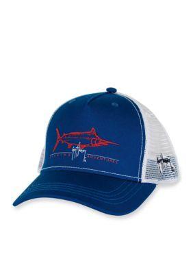 08a911219a42f Guy Harvey Men s Tight Line Trucker Hat - Navy - One Size
