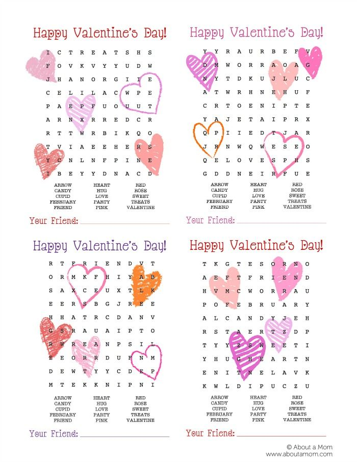 valentine word search printable