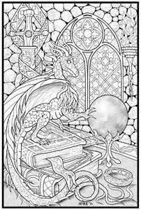 Wizard and Dragon Coloring Pages