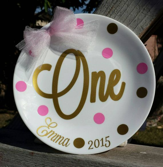 Personalized Plate - Decorative Plate - Cake Plate - Commemorative Plate - Pink and Gold - & Personalized Plate - Decorative Plate - Cake Plate - Commemorative ...