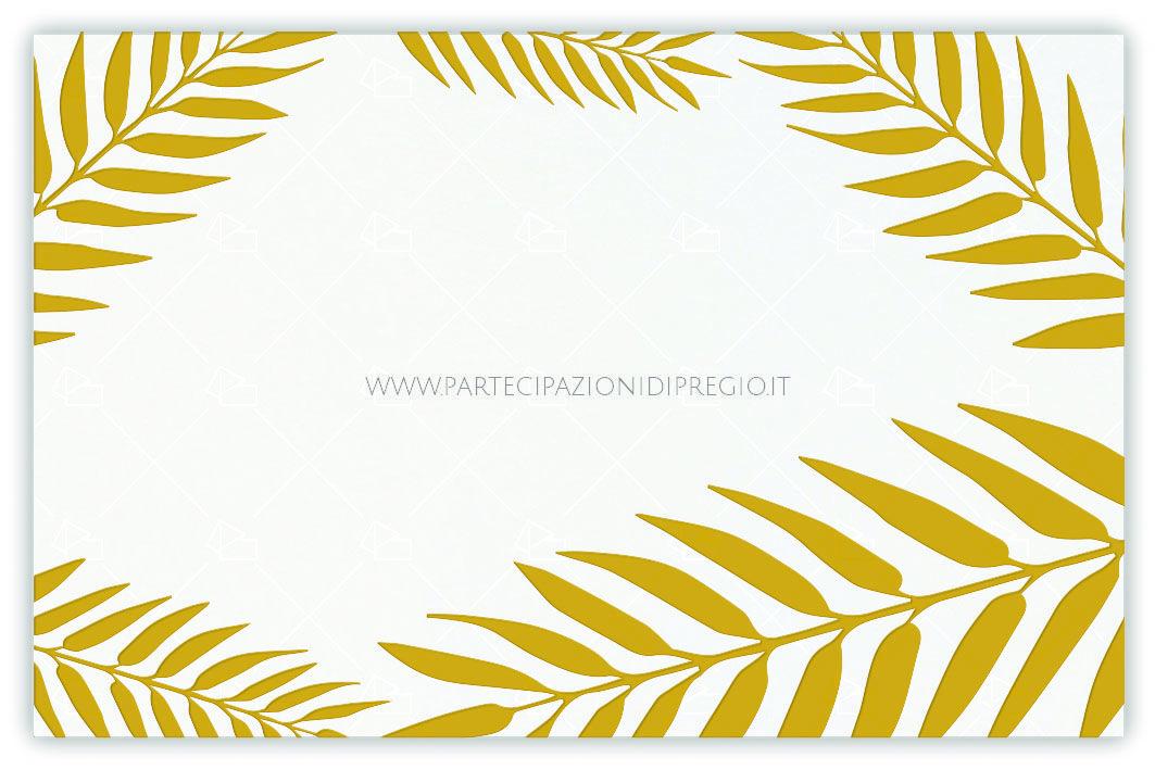 Partecipazioni matrimonio - dimensione: 17 x 11 - forma: rettangolare - carta: Gmund Cotton - Max White - 300, 600, 900 gr. - linea: foglie - modello: foglie tipo 1 ver. 3 - lavorazione press: trama