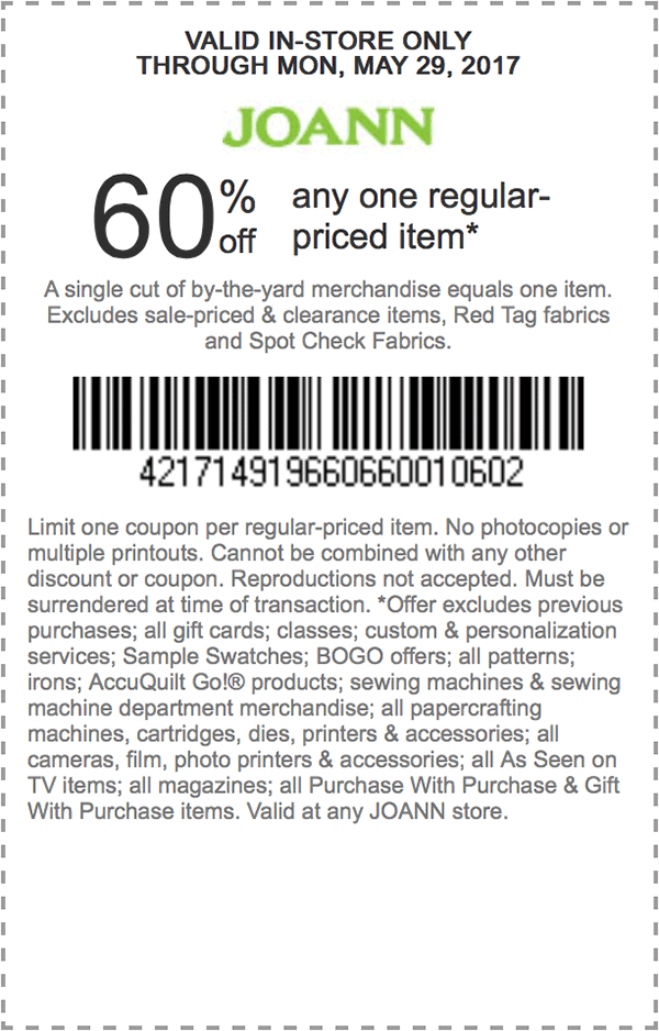 60 Off Any One Regular Priced Item Store Coupons Joann Coupons