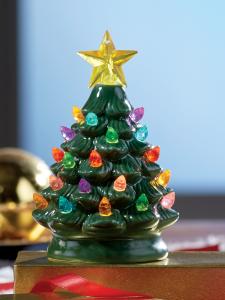 Mini Ceramic Battery Powered Christmas Tree Christmas Ceramic
