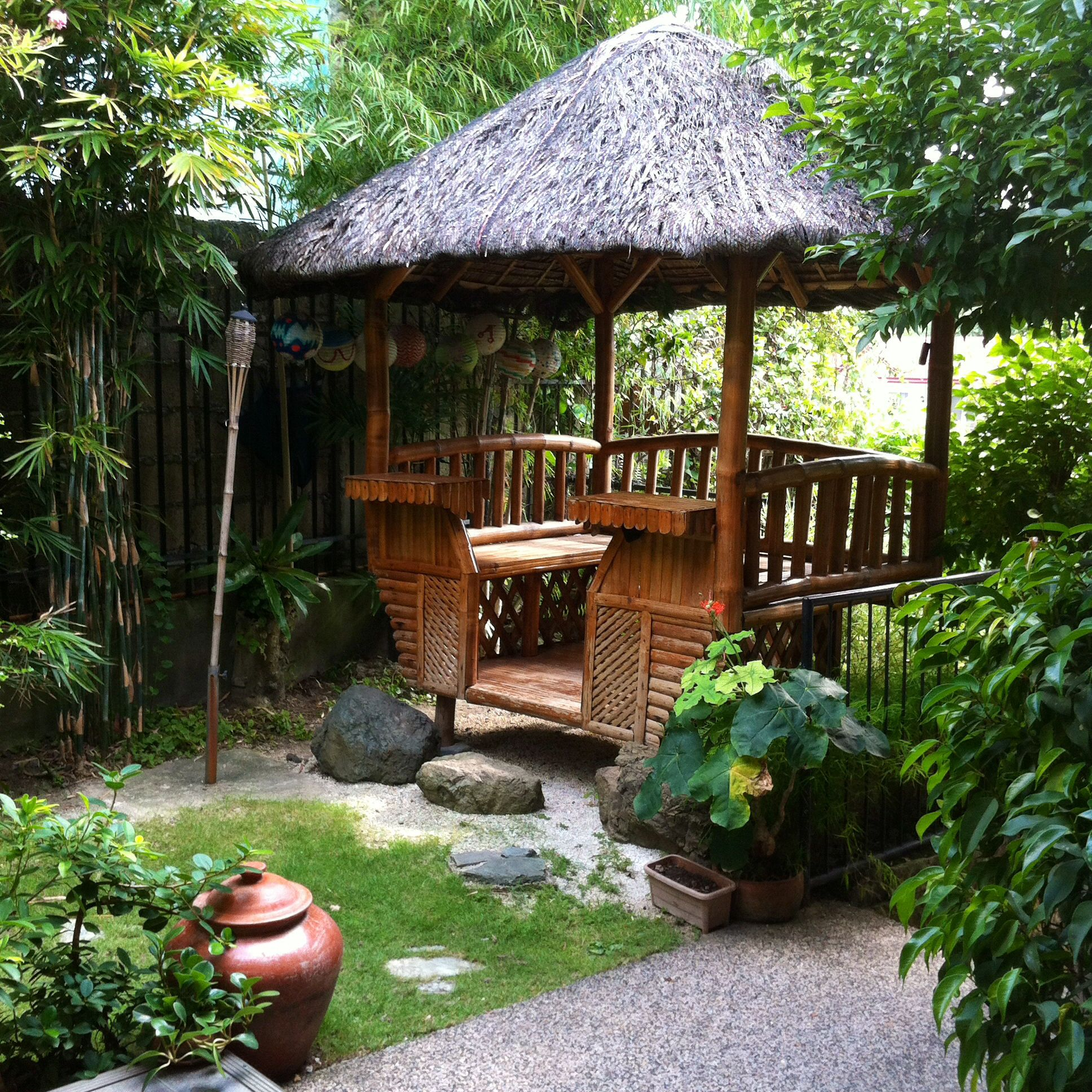 Our nipa hut in the garden love chillin in there