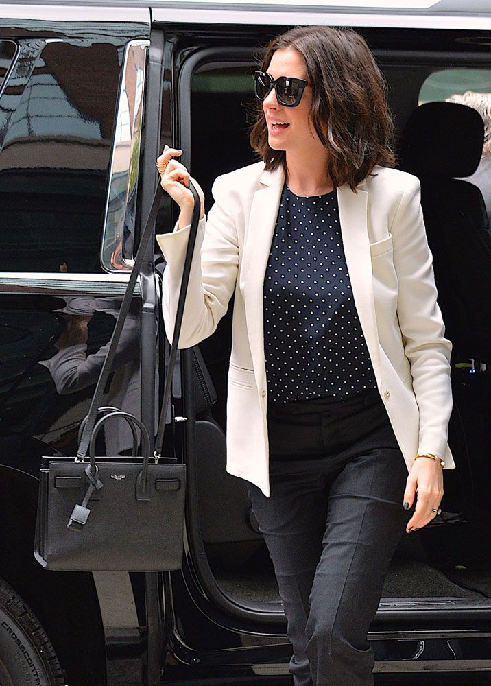 Anne Hathaway Saint Laurent Baby Sac De Jour Bag That S