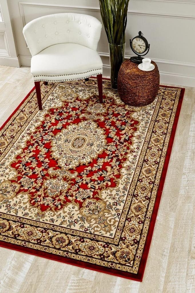 Red Medallion Carved Oriental Clearance Area Rugs 5x8 8x11