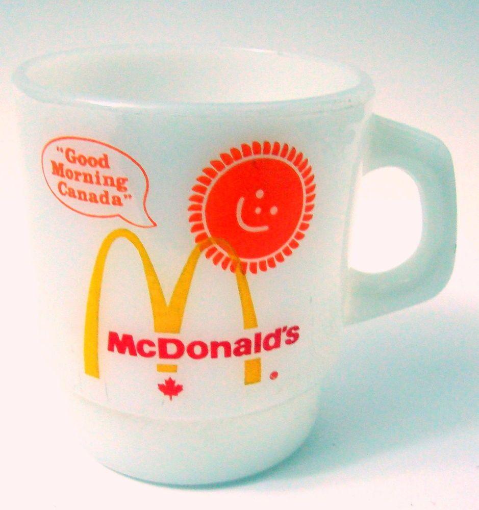 Vtg Mcdonald S Fire King Good Morning Canada Coffee Mug White Milk Glass Sun Mugs White Milk Glass Collectible Dishes