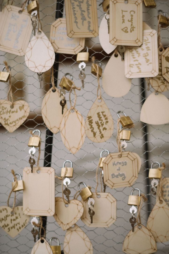 Uest Book Love Lock Bridge Like The One In Paris Where Guests Would Sign Their Names On A Wooden Vintage Tag Weddingguestbook Guestbook Weddingideas