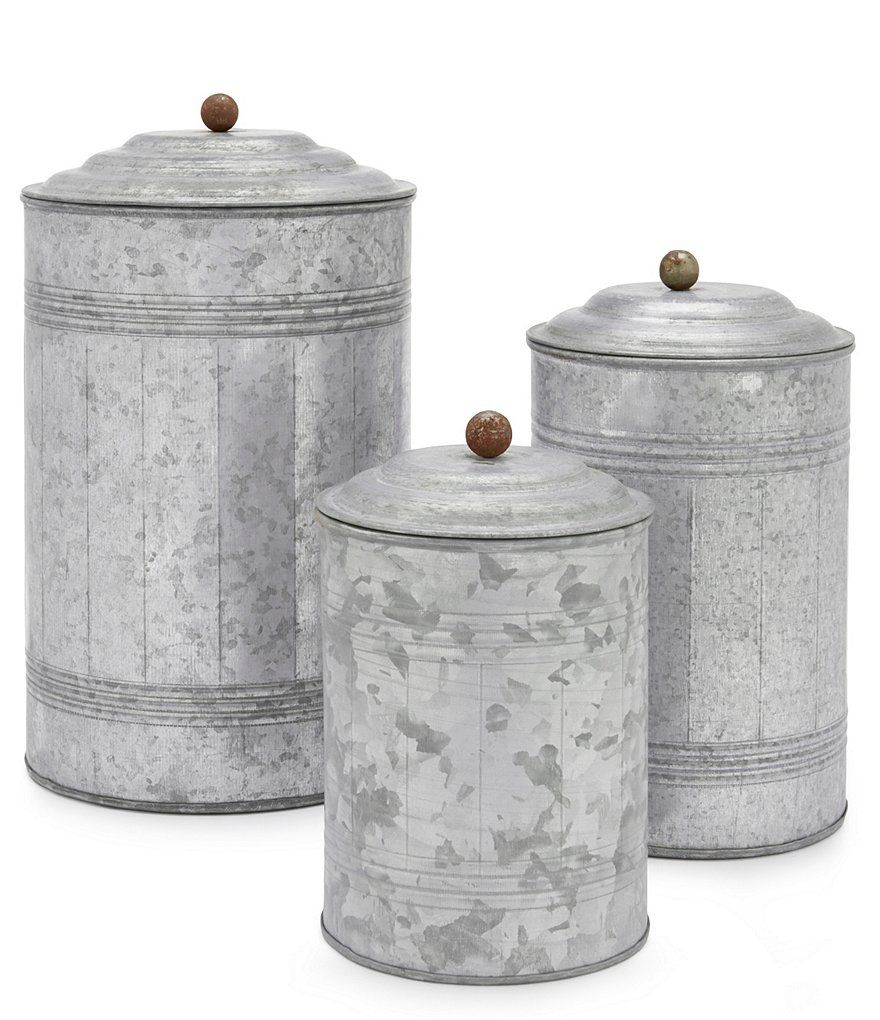 charming Park Design Canister Set Part - 10: Park Hill Tall Galvanized Canisters, Set of 3