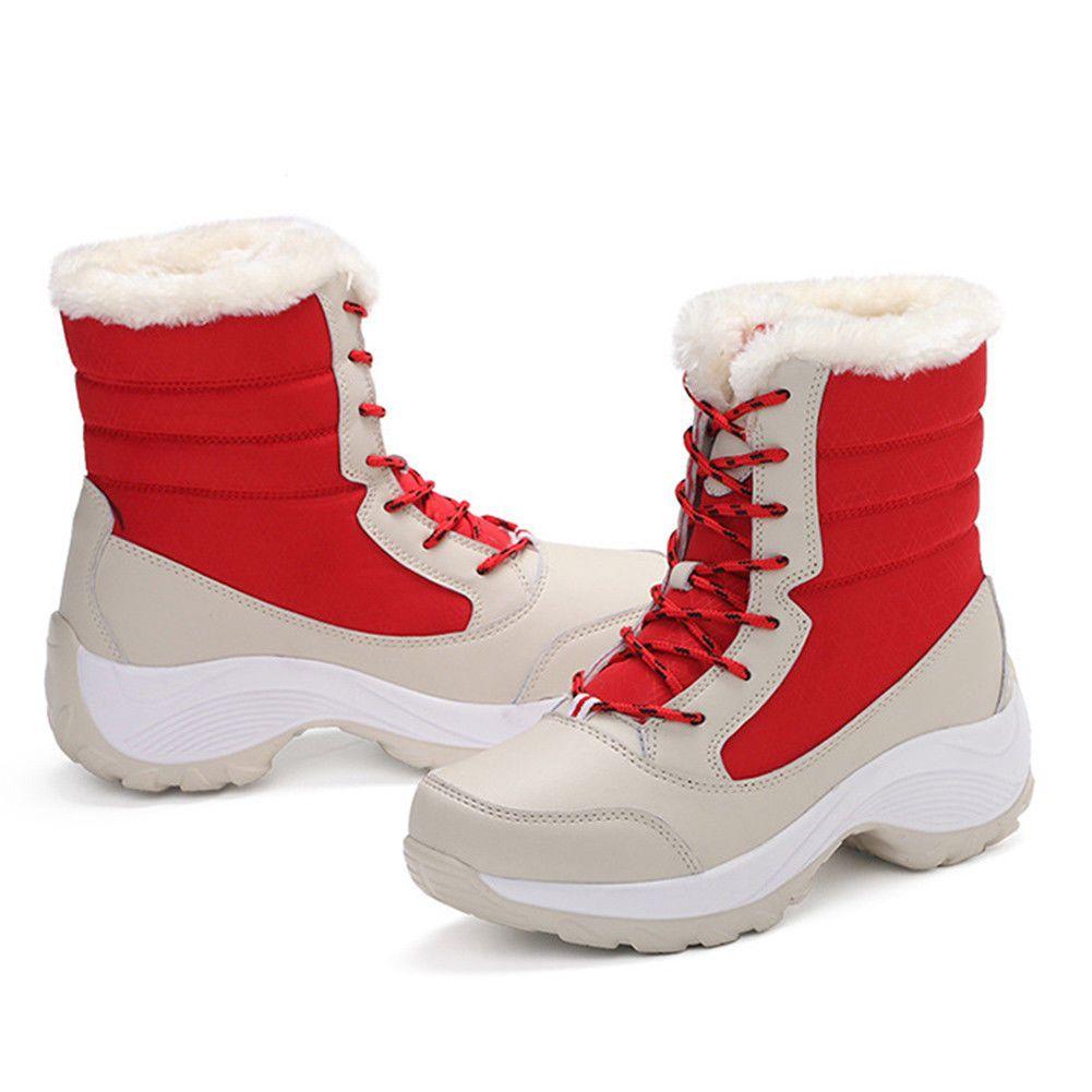 Women/'s Snow Boots Lady Platform Fur Lined Waterproof Mid Calf Shoes Winter Warm