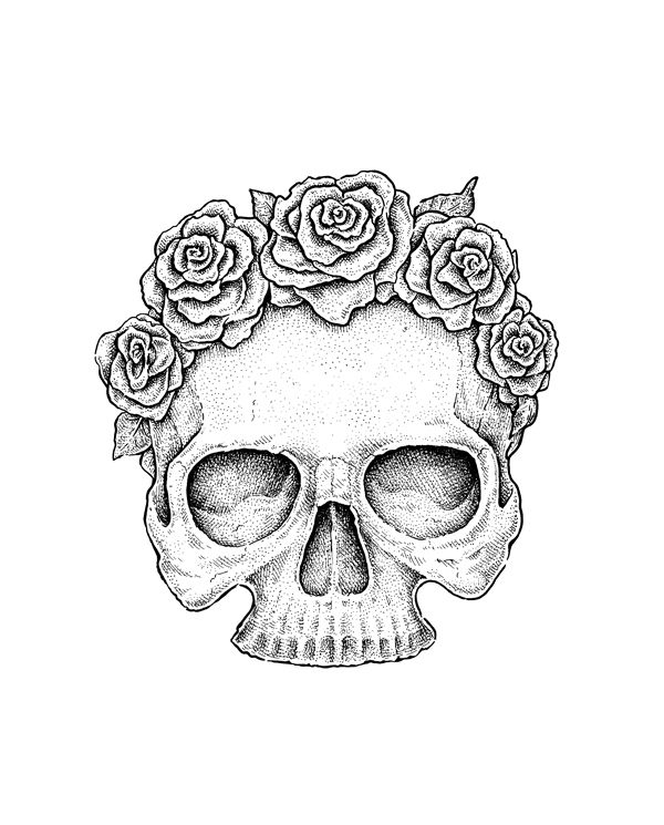 skull flower sketch Google Search Halloween Pinterest