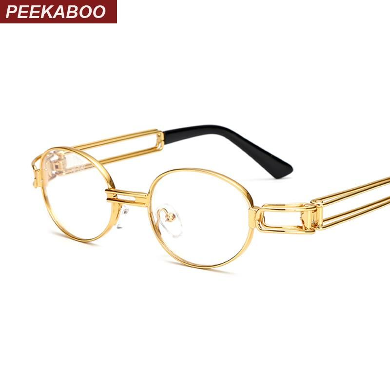 ab5faca1ba Peekaboo retro clear lens nerd glasses frames for men male oval small round  eyeglasses for women gold metal hollow 2017