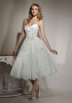 2017 New Short Sweetheart Ruched Mid Calf Length Lace Wedding Dress