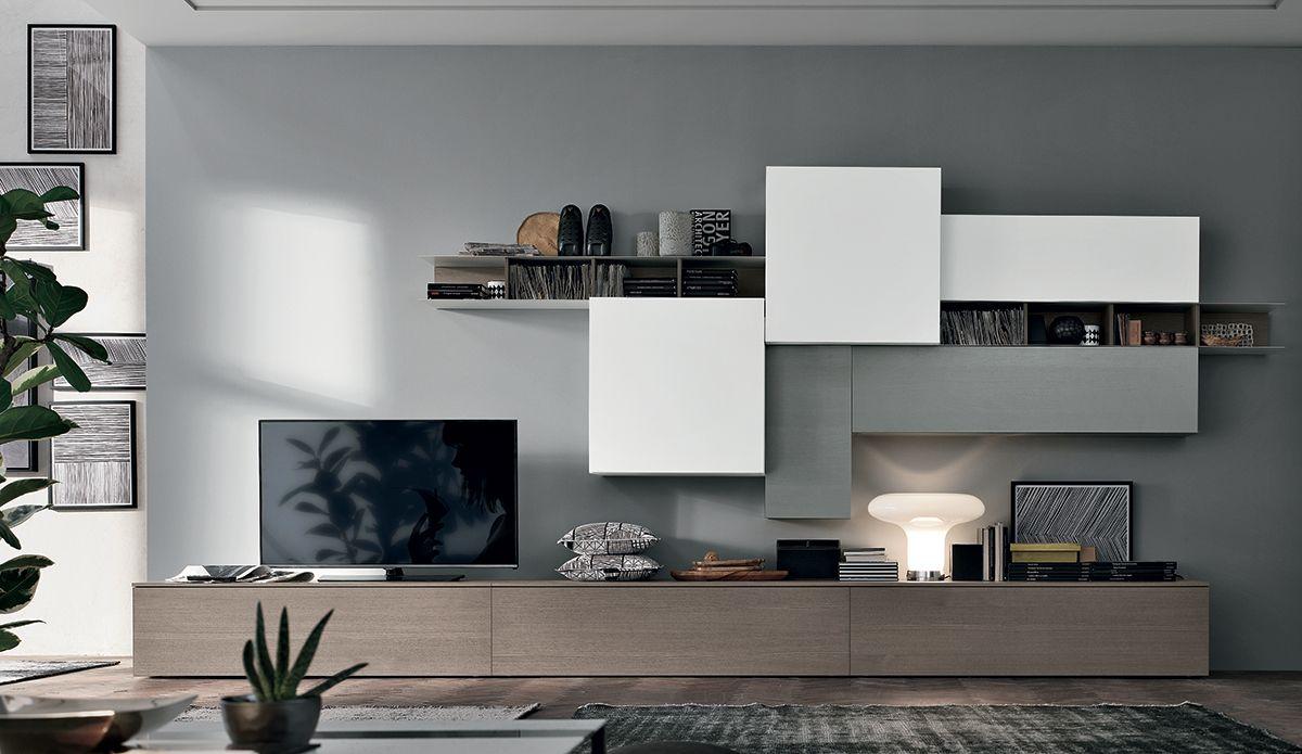 Composizionea001 ambientata tv wall arredamento for Idee arredo soggiorno moderno