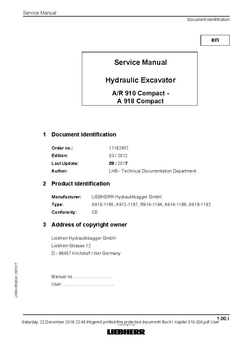 Liebherr A910 A912 R914 A914 A918 Compact Hydraulic Excavator Workshop Repair Service Manual Hydraulic Excavator Excavator Repair Manuals