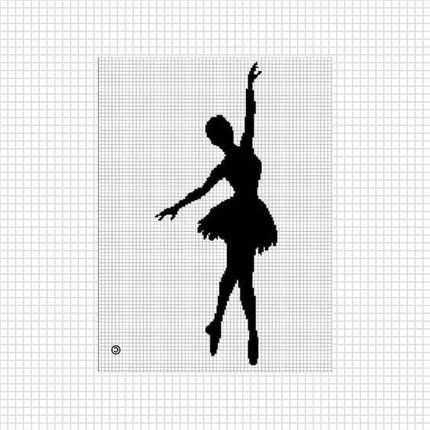 Ballerina silhouette crochet afghan cross stitch pattern