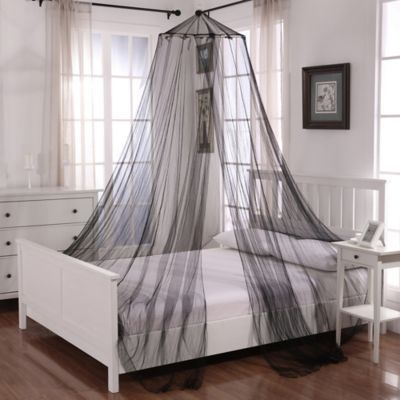 Oasis Round Hoop Sheer Bed Canopy In Black In 2020