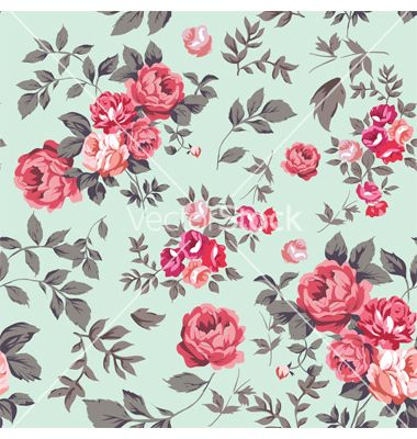 rose seamless pattern pink mint vector by hypnocreative