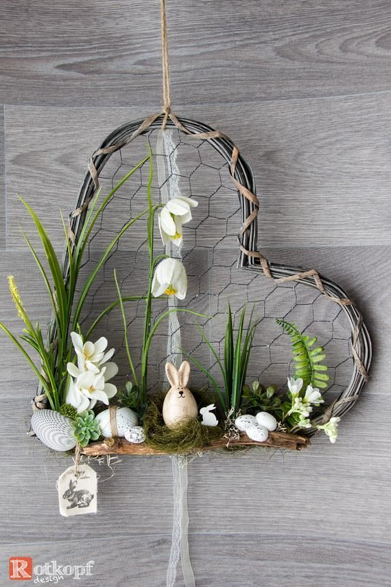Door wreath heart door wreath times different Easter decorations spring Easter door wreath sp...