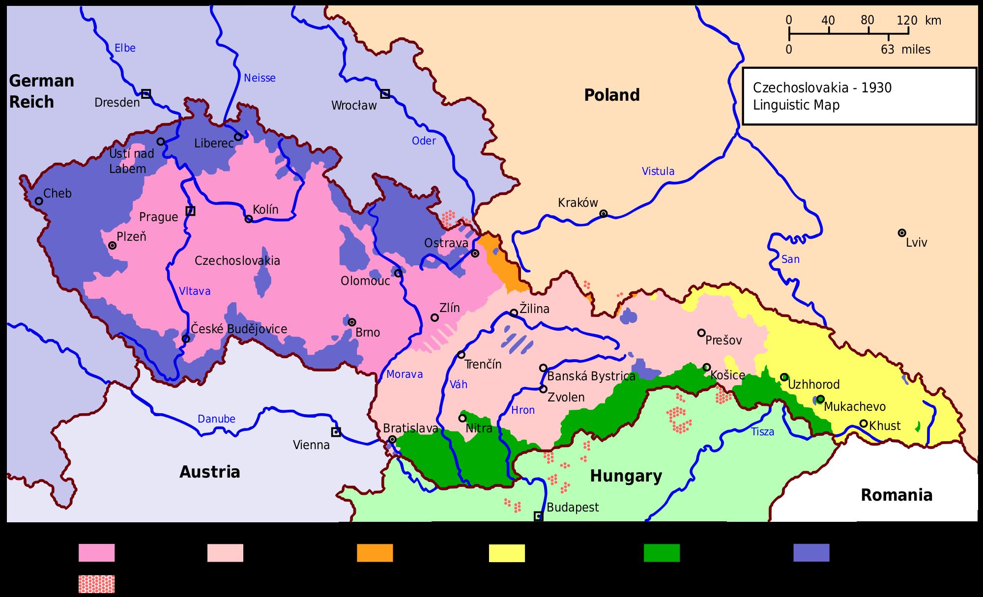 1930 Czechoslovakia Linguistic Map History Pinterest Map