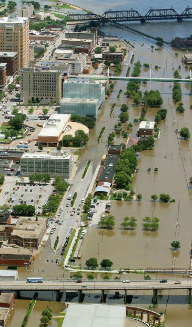An aerial photograph showing the flooding along River Drive in Davenport, Thursday, July 3, 2014, as the Mississippi River approaches the crest. (John Schultz, Quad-City Times)