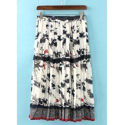 Trendy Style Color Block Pleated Print Chiffon Women's Skirt