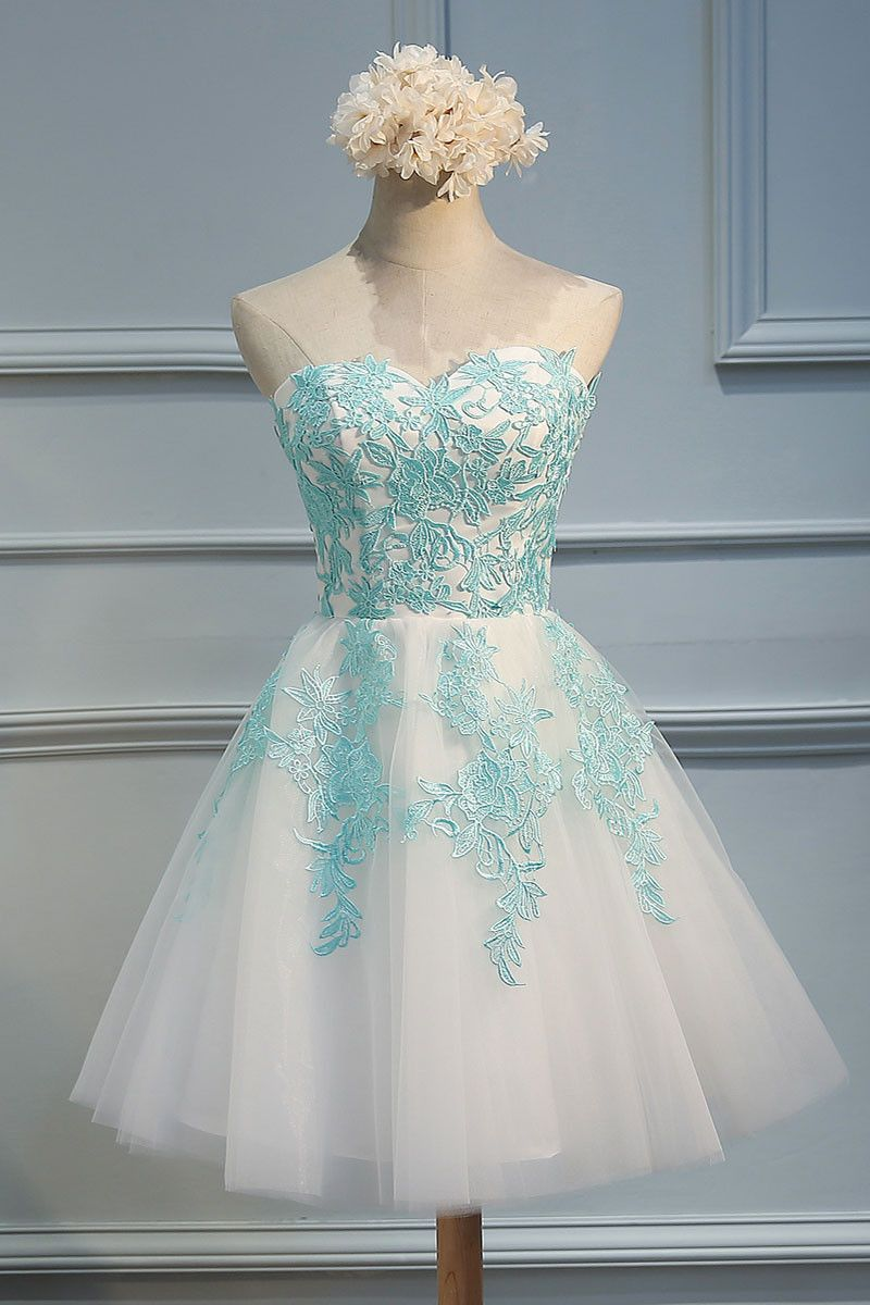 Green lace tulle short prom dress, cute homecoming dress   Pinterest ...
