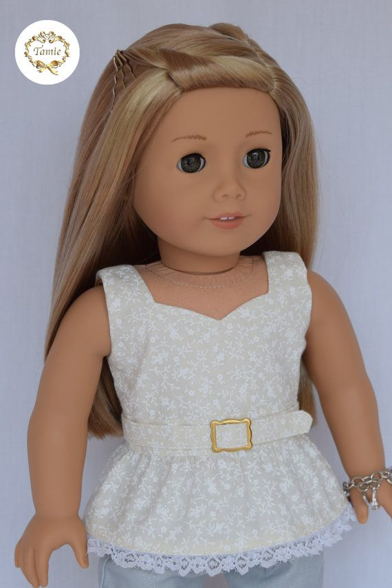 American girl doll clothes Zippered Peplum Blouse with