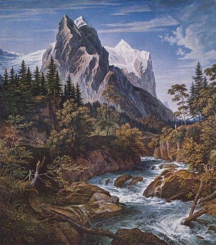 Landschaftsmalerei romantik friedrich  Das Wetterhorn; Joseph Anton Koch | Landschaftsmalerei | Pinterest ...