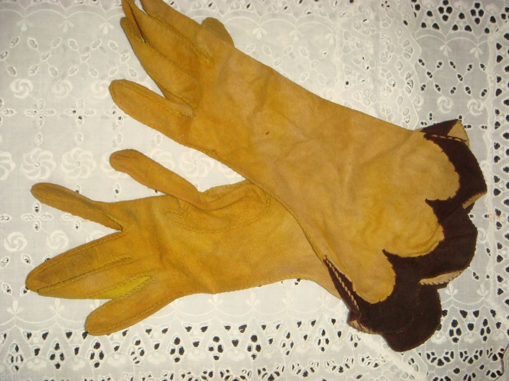 eca64c04f4d96 Chartreuse Peccary Pigskin Leather Gloves l. Size 6-1/2 Vintage long 12 inch