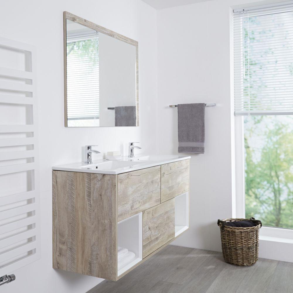 Milano Bexley Light Oak 1200mm Wall Hung Open Shelf Vanity Unit
