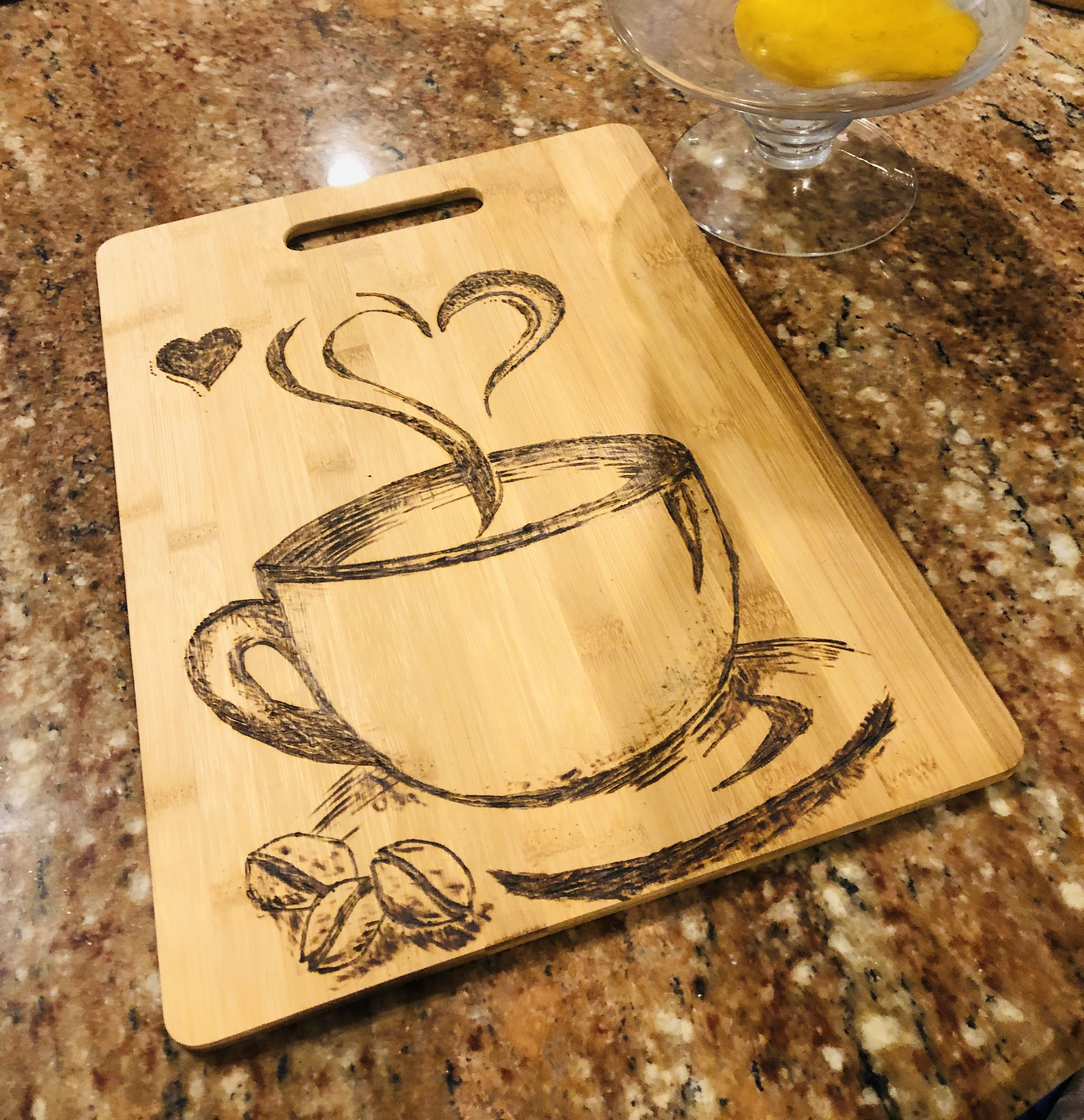 Coffee themed wood burned cutting/cheese board
