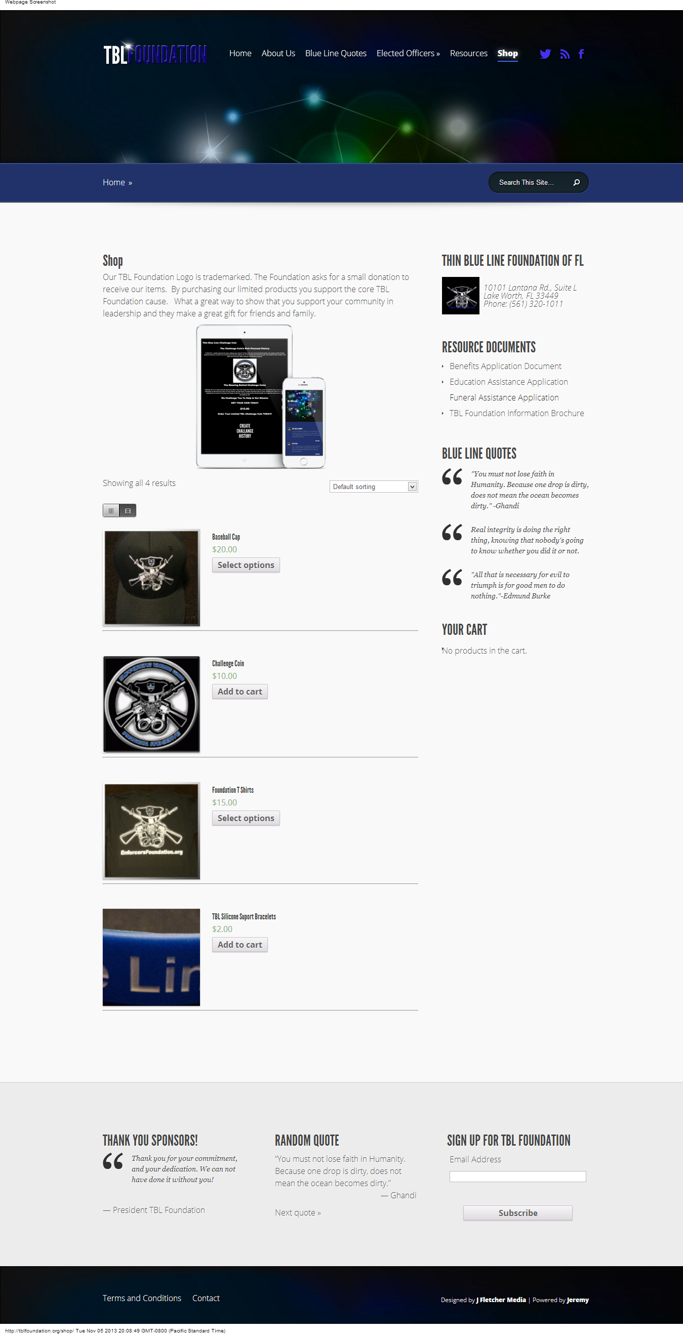 The new Store Page for Thin Blue Line Foundation of FL