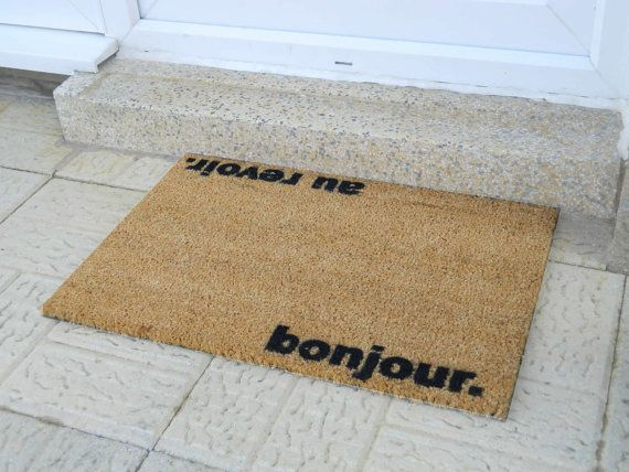 Bonjour Au Revoir Doormat Indoor Outdoor Doormat Hand Sprayed In The Uk Door Mat Happy Larry Outdoor Door Mat