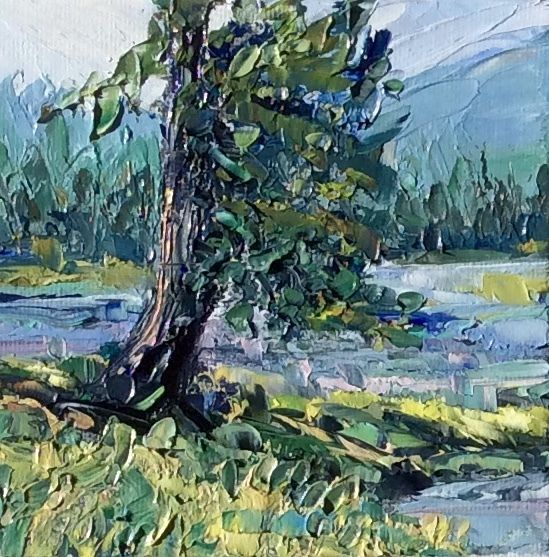 """SHORELINE""  Original 4""x4"" Oil Knife Landscape  by US Artist  Kevin Cross #Impressionism"