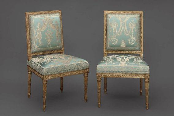 Chaise, c. 1787; Paris, France; gilded beech. Menuisier: Jean-Baptiste-Claude Sené. MFA Boston (27.524)