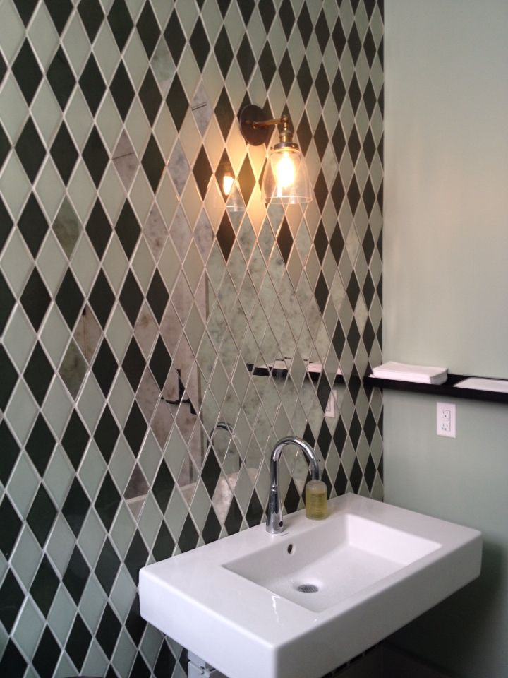 Diamond Mirror Tiles Blend Into The Wall Tiles At Salon By Sucre - New orleans bathroom remodeling