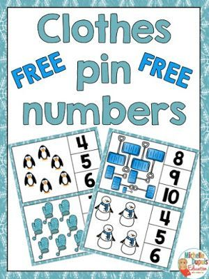 FREEBIE - Clothes pin numbers | Math, Kindergarten and Activities