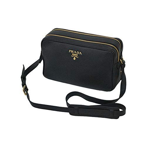 Prada Womens Black Bandoliera Vitello Phenix Leather Crossbody Bag 1BH079 efc2961a7a172